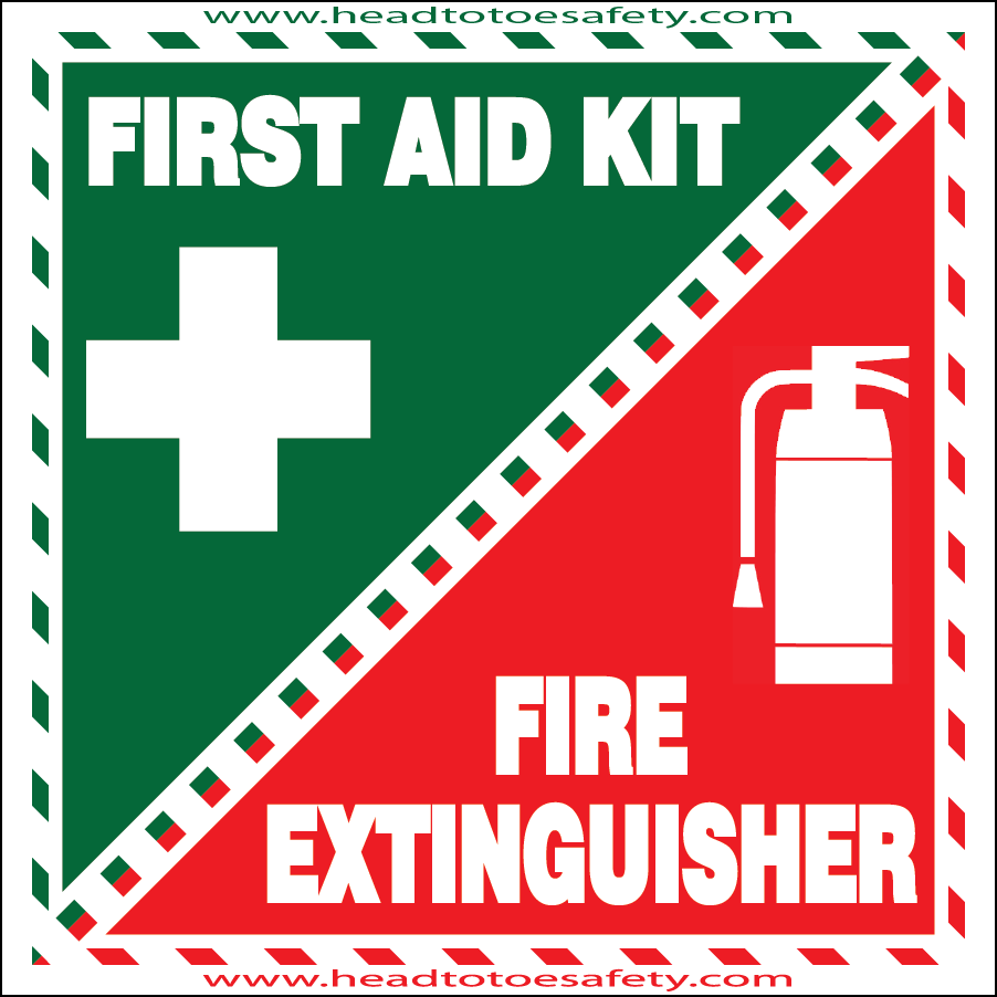 First Aid & Fire Extinguisher Inside Sticker